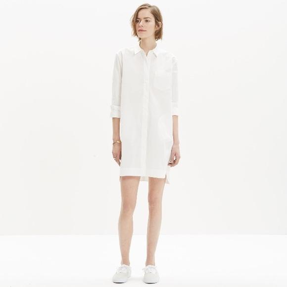 Madewell Dresses & Skirts - Madewell Courtyard white shirtdress L NWT